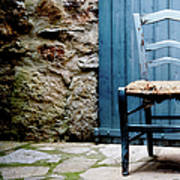 Old Blue Wooden Caned Seat Chair At Art Print