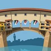 Old Bridge In Florence Flat Illustration Art Print