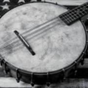 Old Mandolin Banjo In Black And White Art Print