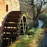 old mill wheel and stream at Preston Mill, East Linton Art Print