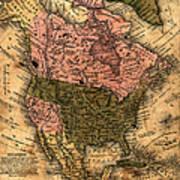 Old North America Map Art Print