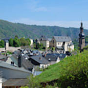 old town walls and church and buildings of Cochem Art Print
