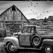 Old Truck At The Barn Bordered Black And White Art Print