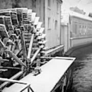 Old Water Wheel Certovka Canal Prague Black And White Art Print