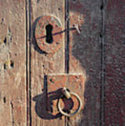Old Wooden Door And Keyhole Art Print