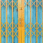 Old Yellow And Blue Steel Door Art Print