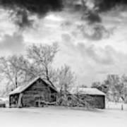 On A Winter Day Monochrome Art Print