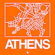 Orange Map Of Athens Art Print
