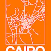 Orange Map Of Cairo Art Print