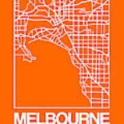Orange Map Of Melbourne Art Print