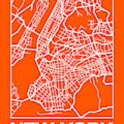 Orange Map Of New York Art Print