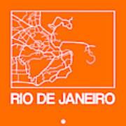 Orange Map Of Rio De Janeiro Art Print