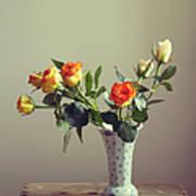 Orange Roses In Vintage Vase Art Print