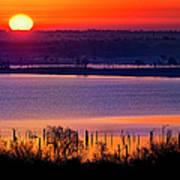 Orange Sunrise On Benbrook Lake Art Print