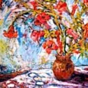 Orange Trumpet Flowers Art Print