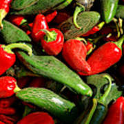 Organic Red And Green Peppers Art Print