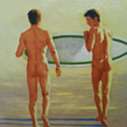 Original  Man Body Oil Painting  Gay Art -two Male Nude By The Sea#16-2-3-02 Art Print