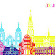 Osijek Skyline Pop Art Print