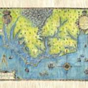 Outer Banks Historic Antique Map Hand Painted Art Print