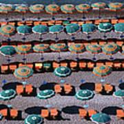 Overhead Of Umbrellas, Deck Chairs On Art Print