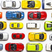 Overhead View On Colorful Car Toys Art Print