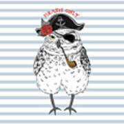 Owl Pirate, Nautical Poster, Hand Drawn Art Print