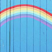 Painted Rainbow On Wooden Fence Art Print