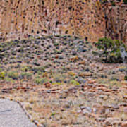 Panorama Of Ancient Tyuonyi Pueblo Dwellings At Bandelier National Monument - Los Alamos New Mexico Art Print