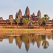 Panorama Of Angkor Wat Cambodia Ruins Art Print