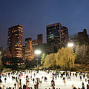 Panorama Of People Ice Skating In Art Print