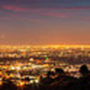 Panoramic View Of Los Angeles At Dusk Art Print