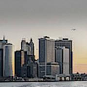 Panoramic View Of Manhattan Island And The Brooklyn Bridge At Su Art Print