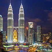 Panoramic View Of Petronas Twin Towers Art Print