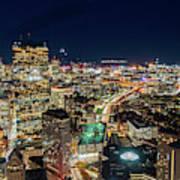 Panoramic View Of The Boston Night Life Art Print