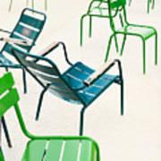 Parisian Metallic Chairs In The City Art Print