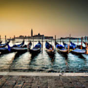 Parked Gondolas, Early Morning In Venice, Italy.  Art Print