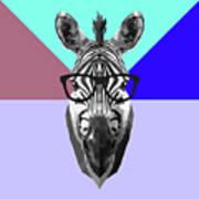 Party Zebra In Glasses Art Print