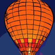 Peach Hot Air Balloon Night Glow In Abstract Art Print
