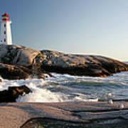 Peggys Cove Lighthouse & Waves Art Print