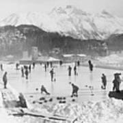 People Enjoying Curling Rink Art Print