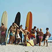 People On Beach With Surf Board Art Print