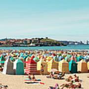 People Relaxing On Gijón Beach Art Print