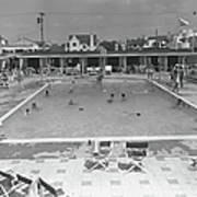 People Swimming In Pool, B&w, Elevated Art Print