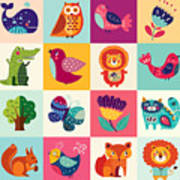 Perfect Vector Set Of Illustration In Art Print