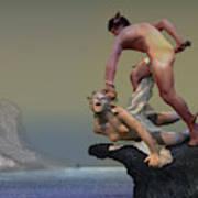 Perseus Fighting Medusa Art Print