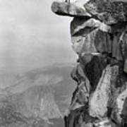 Photographer Standing On Mountain Ledge Art Print