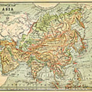 Physical Map Of Asia Art Print