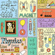 Physics Science Banners Set. Color Hand Art Print
