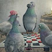 Pigeons Playing Checkers Art Print