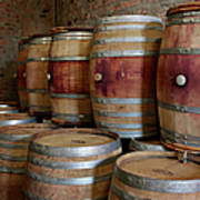Pile Of Wooden Barrels At Winery Art Print